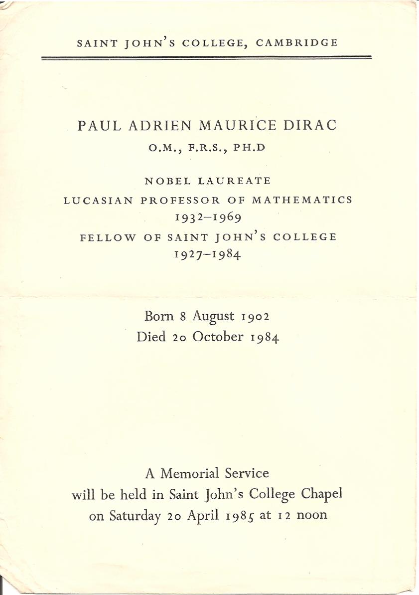 Born 8 August Dirac